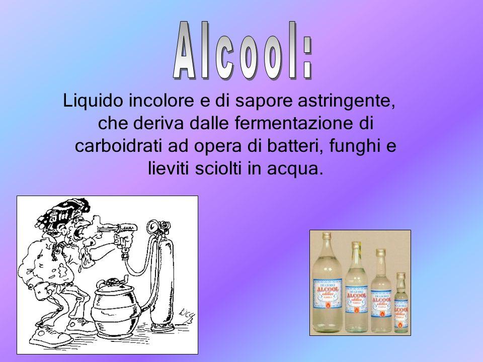 Liquido incolore e di sapore astringente, che deriva dalle fermentazione di carboidrati ad opera di batteri, funghi e lieviti sciolti in acqua.