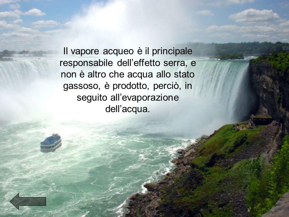 Il vapore acqueo è il principale responsabile delleffetto serra, e non è altro che acqua allo stato gassoso, è prodotto, perciò, in seguito allevaporazione dellacqua.
