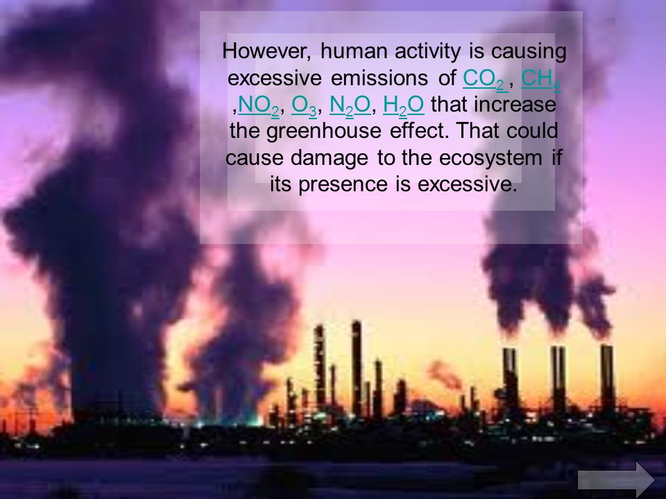 However, human activity is causing excessive emissions of CO 2, CH 4,NO 2, O 3, N 2 O, H 2 O that increase the greenhouse effect.