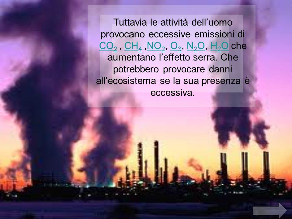 Tuttavia le attività delluomo provocano eccessive emissioni di CO 2, CH 4,NO 2, O 3, N 2 O, H 2 O che aumentano leffetto serra.