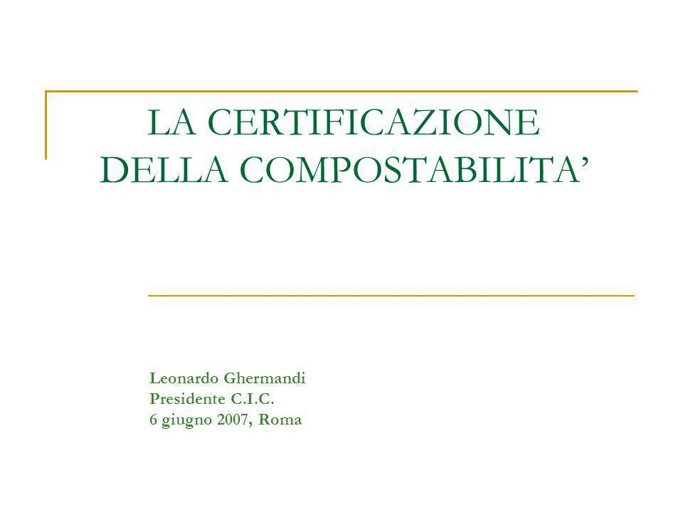LA CERTIFICAZIONE DELLA COMPOSTABILITA Leonardo Ghermandi Presidente C.I.C. 6 giugno 2007, Roma