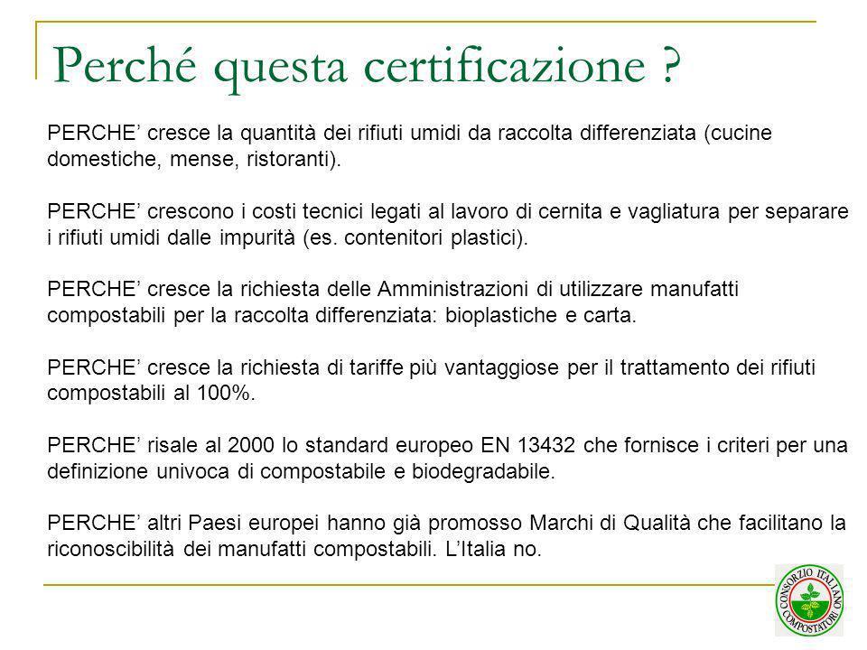 Perché questa certificazione ? PERCHE cresce la quantità dei rifiuti umidi da raccolta differenziata (cucine domestiche, mense, ristoranti). PERCHE cr