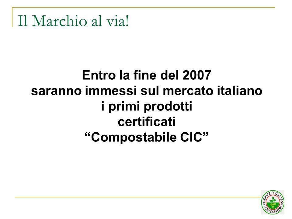Il Marchio al via! Entro la fine del 2007 saranno immessi sul mercato italiano i primi prodotti certificati Compostabile CIC