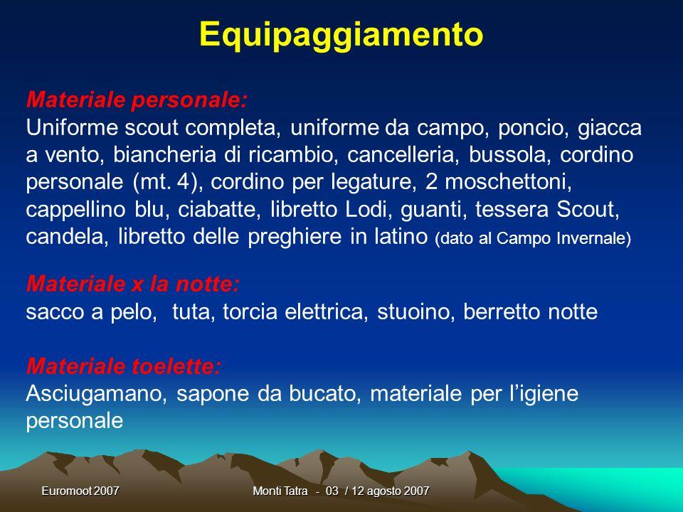Euromoot 2007Monti Tatra - 03 / 12 agosto 2007 Programma GiornoOrarioAzione Venerdì 10 Riposo Venerdì 1013.00 - 15.00 Incontro con i Commissari Genera