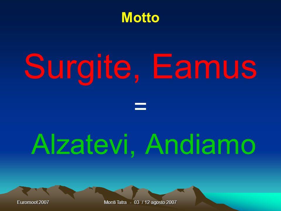 Euromoot 2007Monti Tatra - 03 / 12 agosto 2007 Non dimenticate di aggiornare il nostro Blog Marchigiano preparato per lEuromoot http://euromoot2007marche.blogspot.com/ PER VOI e DA VOI Questo è uno strumento di condivisione che abbiamo creato PER VOI e DA VOI deve essere sfruttato e arricchito Ma senza la Vs.