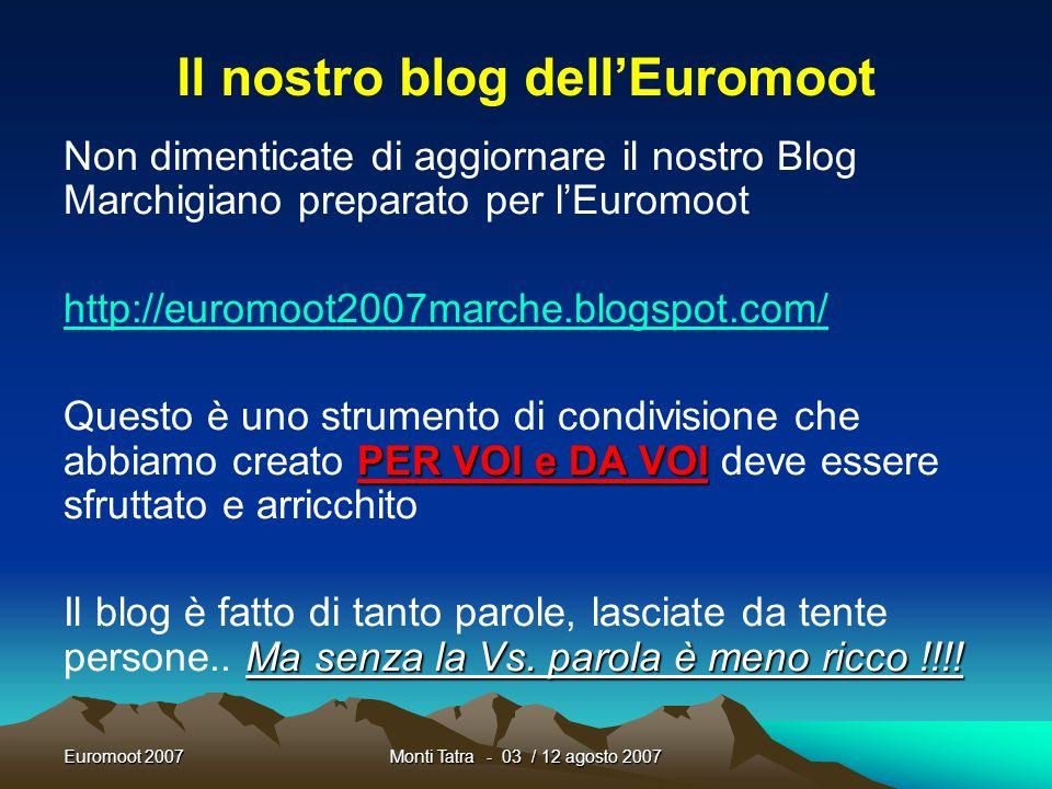 Euromoot 2007Monti Tatra - 03 / 12 agosto 2007 More info Logistica Tutti i documenti sono scaricabili dal sito associativo www.fse.it Approfondire Rov
