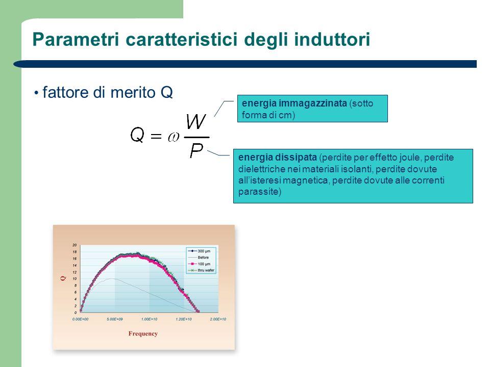 Parametri caratteristici degli induttori fattore di merito Q energia immagazzinata (sotto forma di cm) energia dissipata (perdite per effetto joule, p