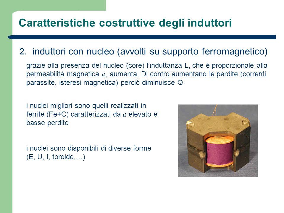 Caratteristiche costruttive degli induttori 2. induttori con nucleo (avvolti su supporto ferromagnetico) grazie alla presenza del nucleo (core) lindut