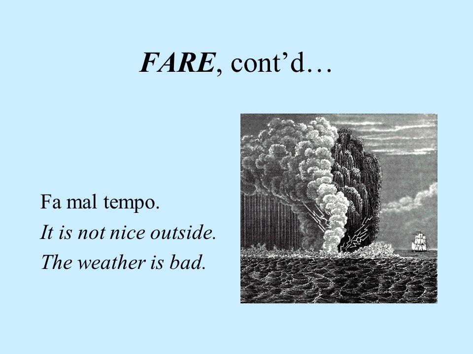 Espressioni con FARE Fa bel tempo. It is nice outside. The weather is good.