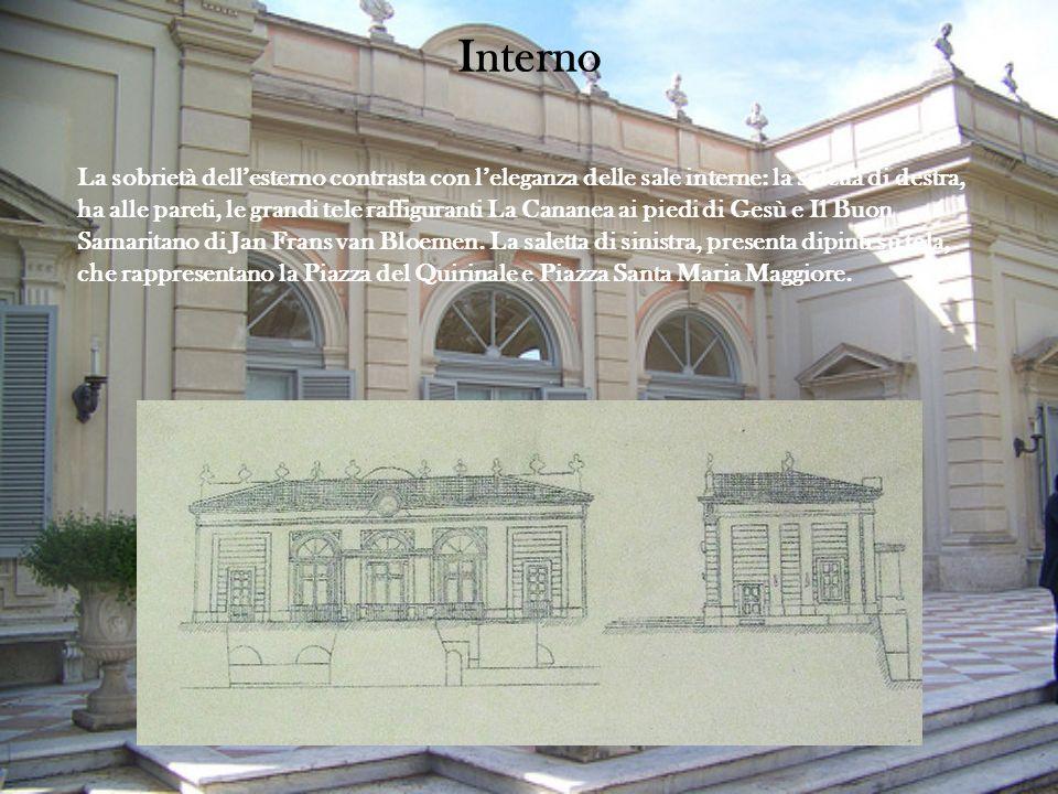 Interno La sobrietà dellesterno contrasta con leleganza delle sale interne: la saletta di destra, ha alle pareti, le grandi tele raffiguranti La Canan