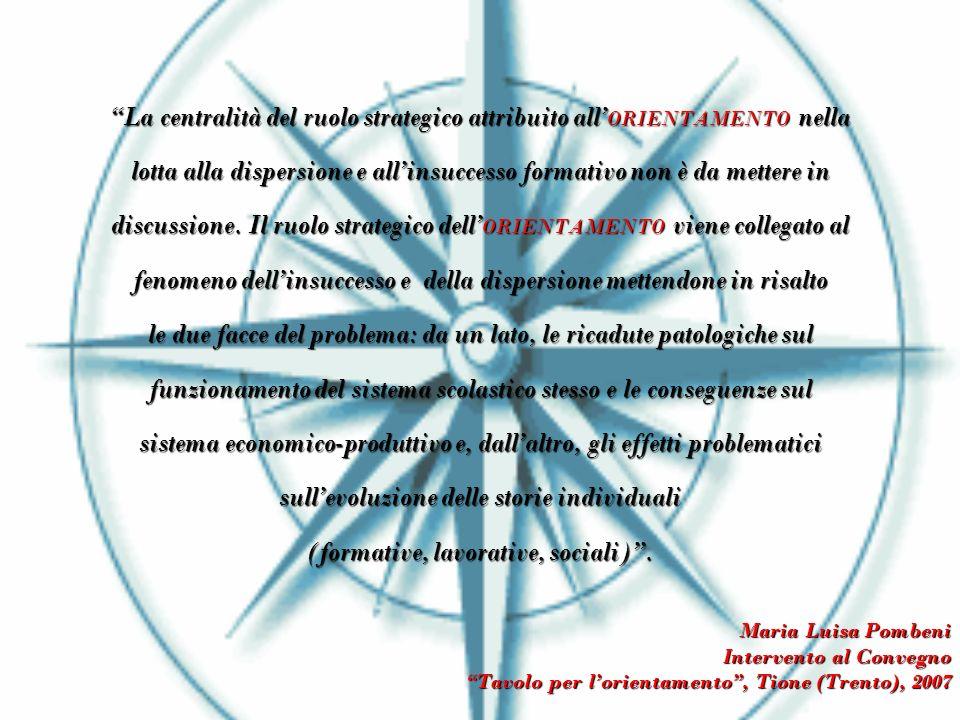 La centralità del ruolo strategico attribuito all ORIENTAMENTO nella lotta alla dispersione e allinsuccesso formativo non è da mettere in discussione.