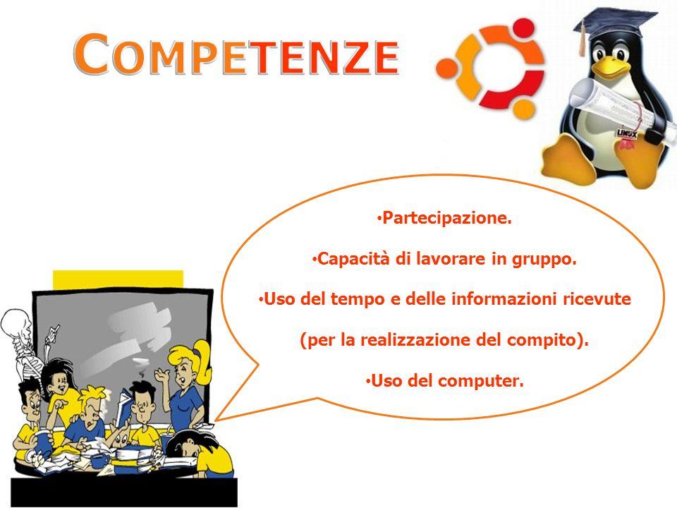 Partecipazione. Capacità di lavorare in gruppo. Uso del tempo e delle informazioni ricevute (per la realizzazione del compito). Uso del computer.