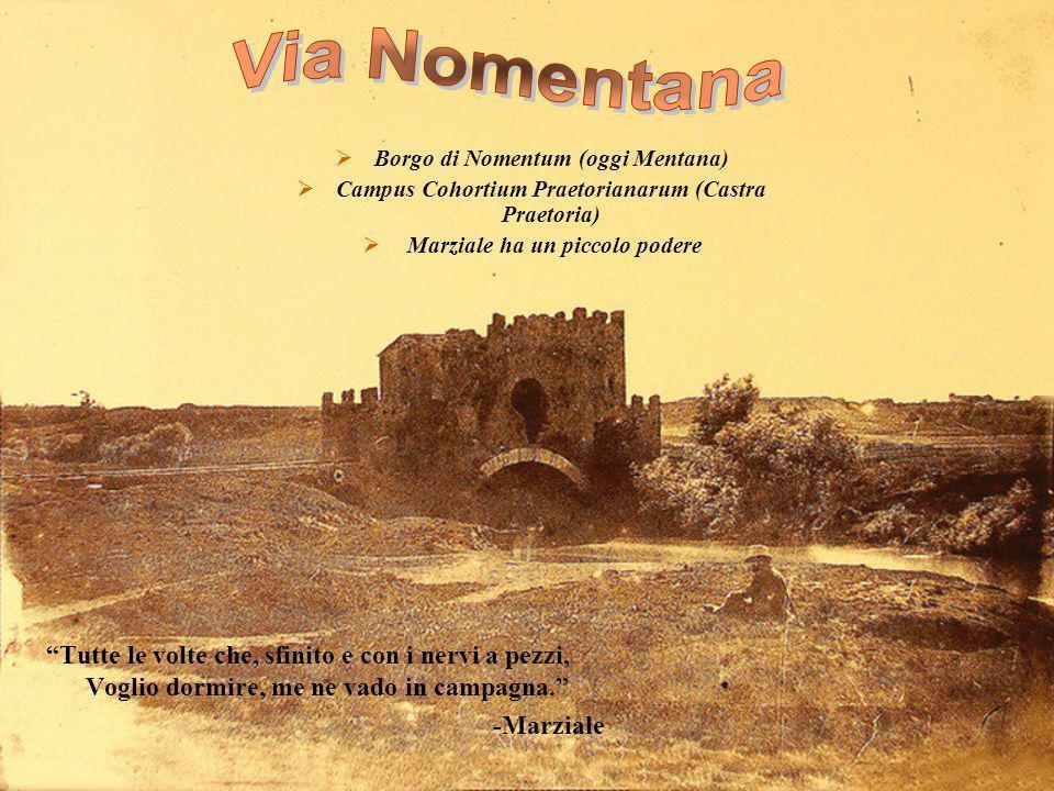 Borgo di Nomentum (oggi Mentana) Campus Cohortium Praetorianarum (Castra Praetoria) Marziale ha un piccolo podere Tutte le volte che, sfinito e con i