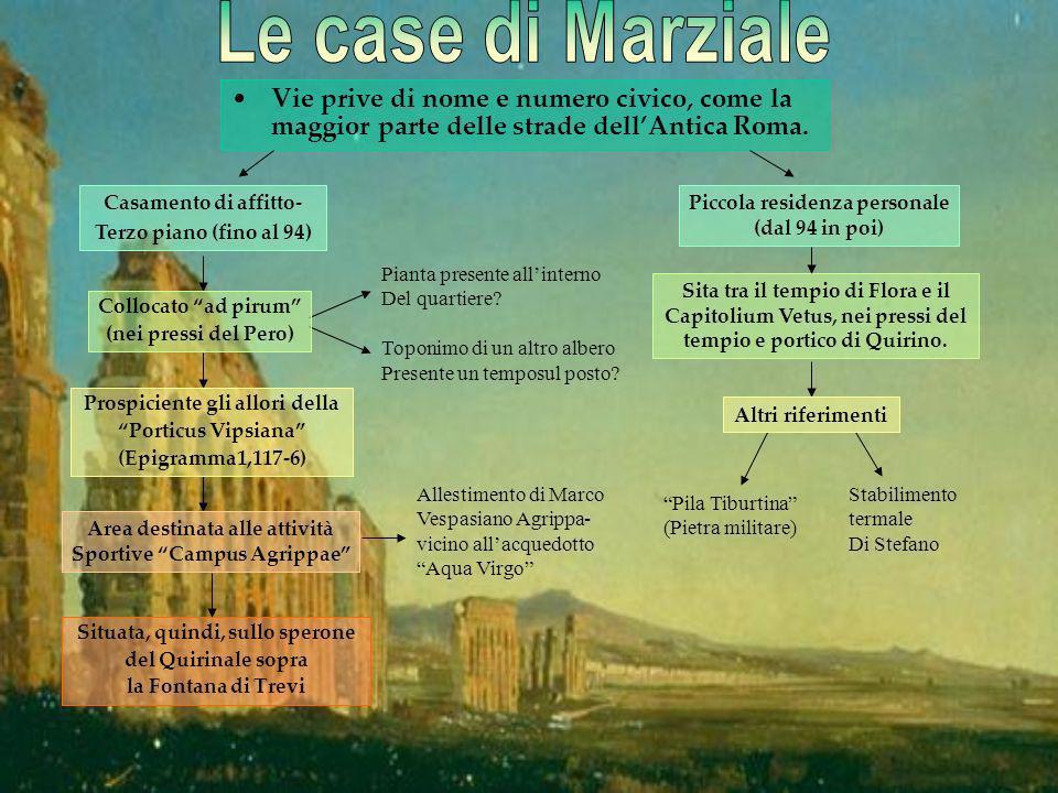 Vie prive di nome e numero civico, come la maggior parte delle strade dellAntica Roma. Situata, quindi, sullo sperone del Quirinale sopra la Fontana d