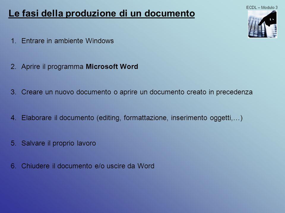 ECDL – Modulo 3 Utilizzo della guida in linea - Richiamare la guida in linea (barra menù oppure F1) - Cercare un informazione Modifica delle impostazioni del programma - Cambiare la visualizzazione di una pagina le modalità di visualizzazione possibili sono 4: 1.normale 2.layout web 3.layout di stampa 4.struttura possono essere selezionate dal menù Visualizza oppure mediante i pulsanti in basso a sx - Zoom - Barre degli strumenti possono essere personalizzate aggiungendo/togliendo icone mediante il menù Visualizza/Barre degli strumenti - Caratteri non stampabili (nascosti) - Opzioni di base del programma È possibile modificare il nome dellutente e le cartelle predefinite per lapertura e il salvataggio dei documenti utilizzando il menù Strumenti/Opzioni