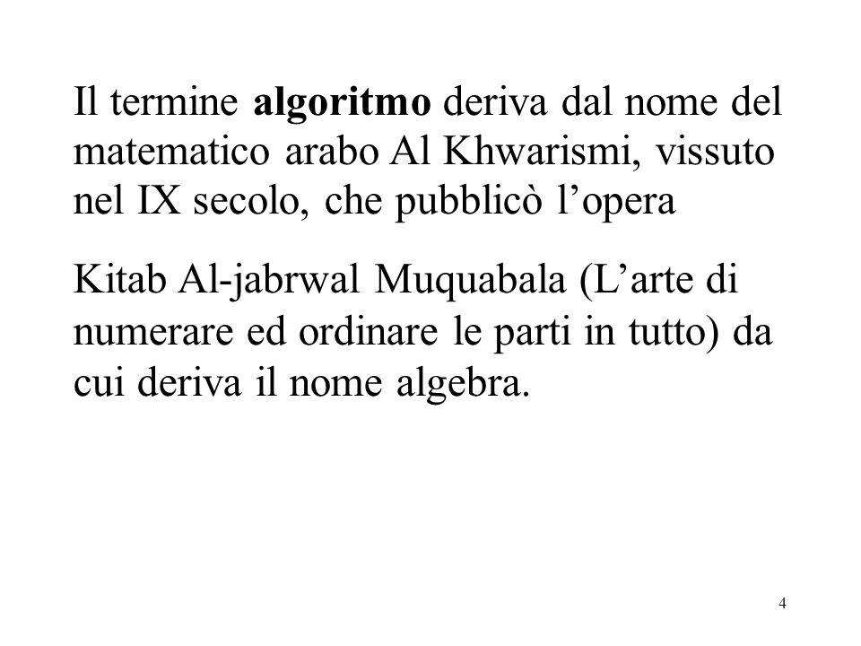 4 Il termine algoritmo deriva dal nome del matematico arabo Al Khwarismi, vissuto nel IX secolo, che pubblicò lopera Kitab Al-jabrwal Muquabala (Larte di numerare ed ordinare le parti in tutto) da cui deriva il nome algebra.