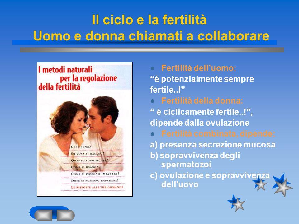 Il ciclo e la fertilità Uomo e donna chiamati a collaborare Fertilità delluomo: è potenzialmente sempre fertile..! Fertilità della donna: è ciclicamen