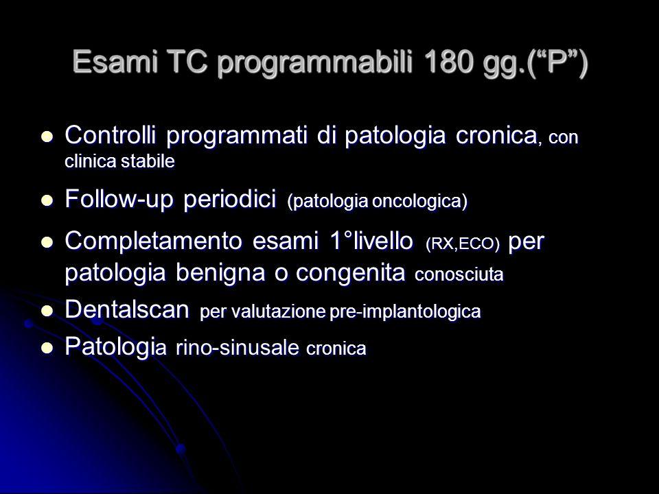Esami TC programmabili 180 gg.(P) Controlli programmati di patologia cronica, con clinica stabile Controlli programmati di patologia cronica, con clin