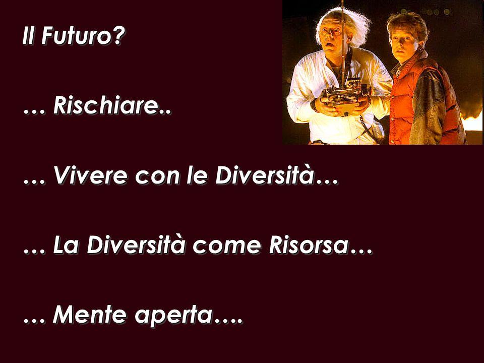 Il Futuro? … Rischiare.. … Vivere con le Diversità… … La Diversità come Risorsa… … Mente aperta…. Il Futuro? … Rischiare.. … Vivere con le Diversità…