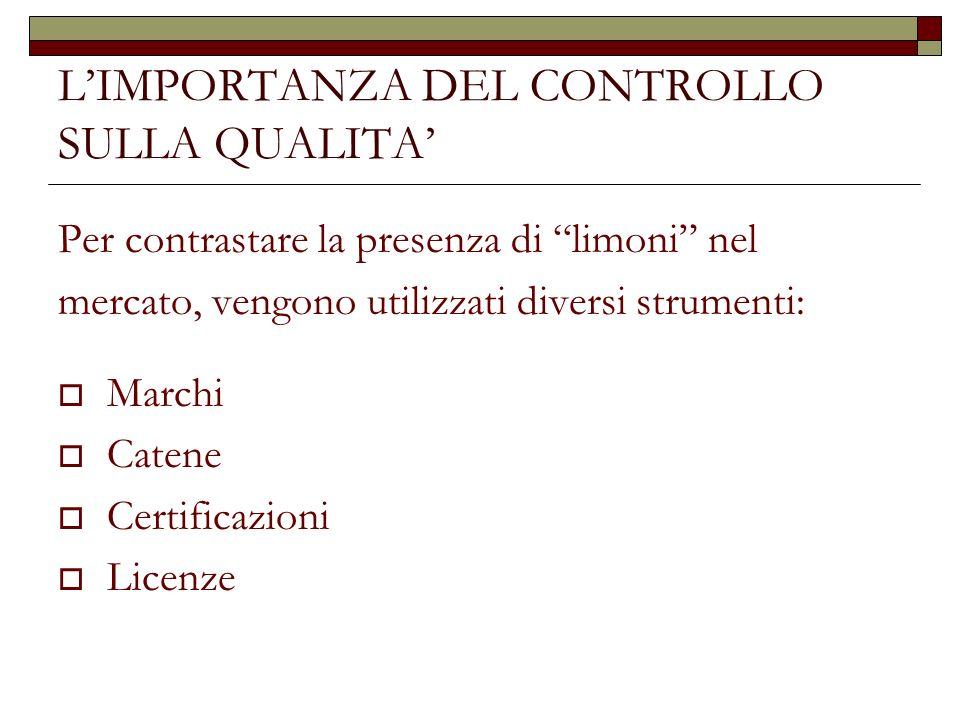 LIMPORTANZA DEL CONTROLLO SULLA QUALITA Per contrastare la presenza di limoni nel mercato, vengono utilizzati diversi strumenti: Marchi Catene Certifi