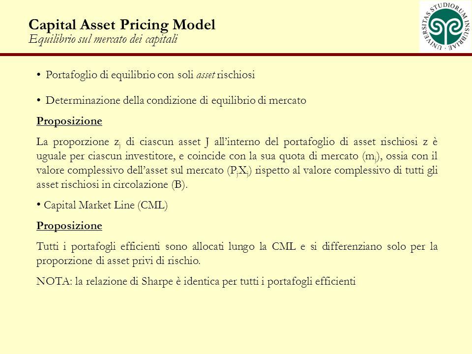 Capital Asset Pricing Model Equilibrio sul mercato dei capitali Portafoglio di equilibrio con soli asset rischiosi Determinazione della condizione di