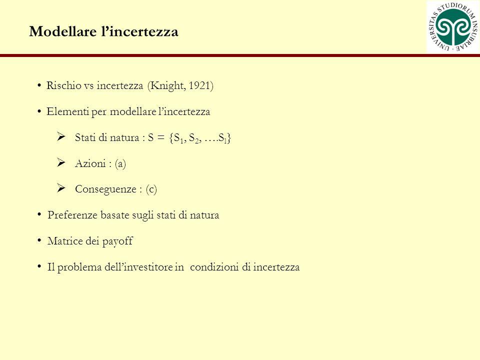 Modellare lincertezza Rischio vs incertezza (Knight, 1921) Elementi per modellare lincertezza Stati di natura : S = {S 1, S 2, ….S l } Azioni : (a) Conseguenze : (c) Preferenze basate sugli stati di natura Matrice dei payoff Il problema dellinvestitore in condizioni di incertezza