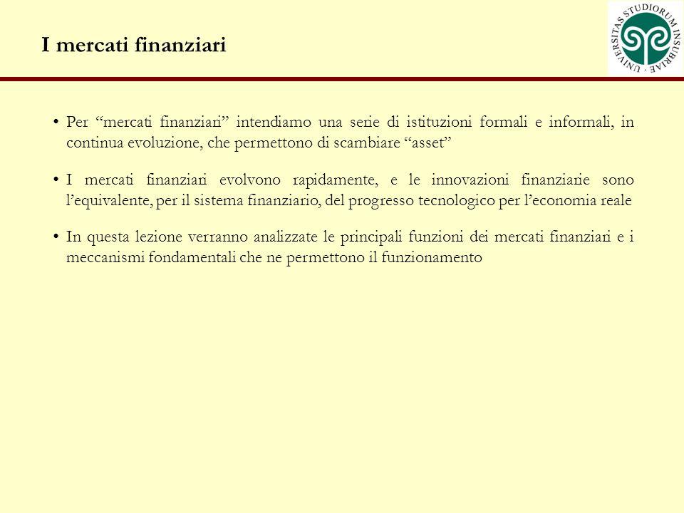 I mercati finanziari Per mercati finanziari intendiamo una serie di istituzioni formali e informali, in continua evoluzione, che permettono di scambiare asset I mercati finanziari evolvono rapidamente, e le innovazioni finanziarie sono lequivalente, per il sistema finanziario, del progresso tecnologico per leconomia reale In questa lezione verranno analizzate le principali funzioni dei mercati finanziari e i meccanismi fondamentali che ne permettono il funzionamento
