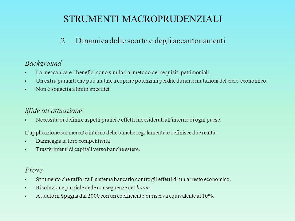 STRUMENTI MACROPRUDENZIALI Background La meccanica e i benefici sono similari al metodo dei requisiti patrimoniali.