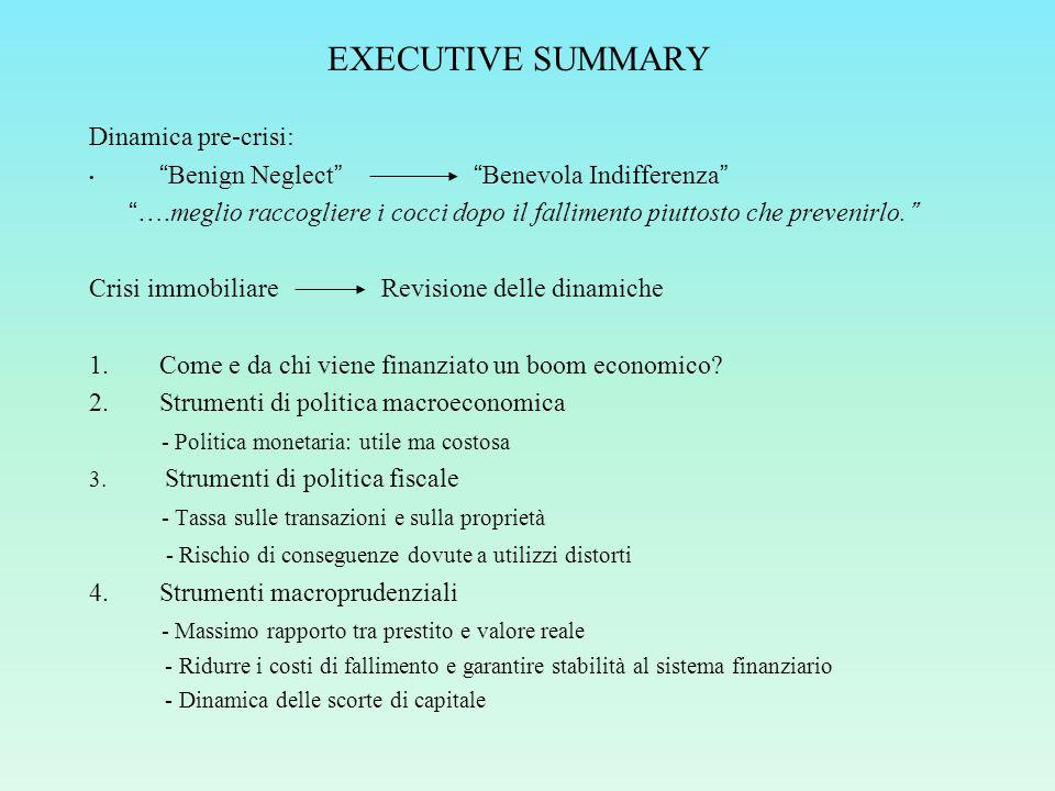 CONCLUSIONI Miglior strategia: politica macroprudenziale Contiene i prezzi delle case e la leva finanziaria Risolve il problema alla radice Maggior sicurezza del sistema bancario Criteri discrezionali o regole
