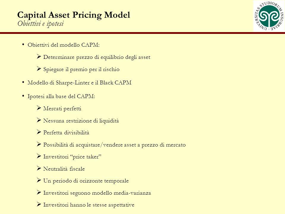 Capital Asset Pricing Model Obiettivi e ipotesi Obiettivi del modello CAPM: Determinare prezzo di equilibrio degli asset Spiegare il premio per il ris