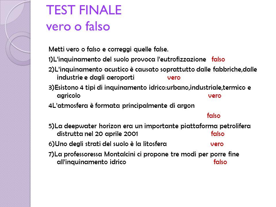 Correzione risposte false 1)Linquinamento idrico provoca leutrofizzazione.