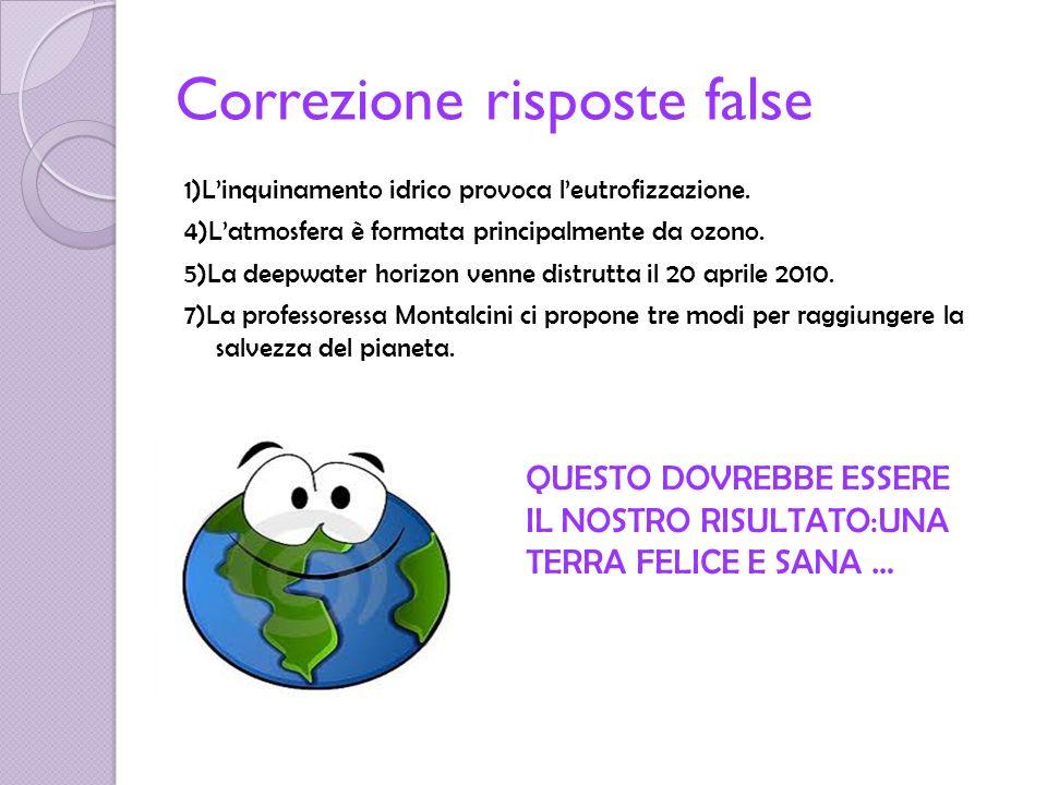 Correzione risposte false 1)Linquinamento idrico provoca leutrofizzazione. 4)Latmosfera è formata principalmente da ozono. 5)La deepwater horizon venn