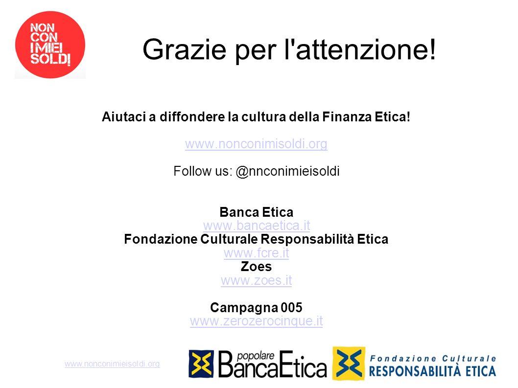 Grazie per l'attenzione! Aiutaci a diffondere la cultura della Finanza Etica! www.nonconimisoldi.org Follow us: @nnconimieisoldi Banca Etica www.banca
