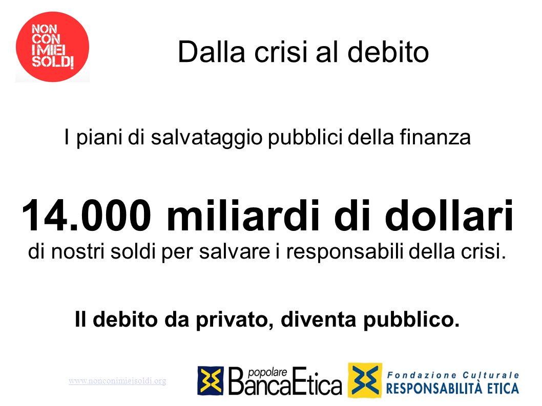 Dalla crisi al debito I piani di salvataggio pubblici della finanza 14.000 miliardi di dollari di nostri soldi per salvare i responsabili della crisi.