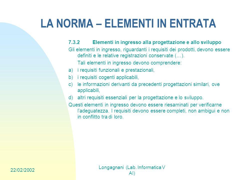 22/02/2002 Longagnani (Lab. Informatica V AI) LA NORMA – ELEMENTI IN ENTRATA 7.3.2Elementi in ingresso alla progettazione e allo sviluppo Gli elementi