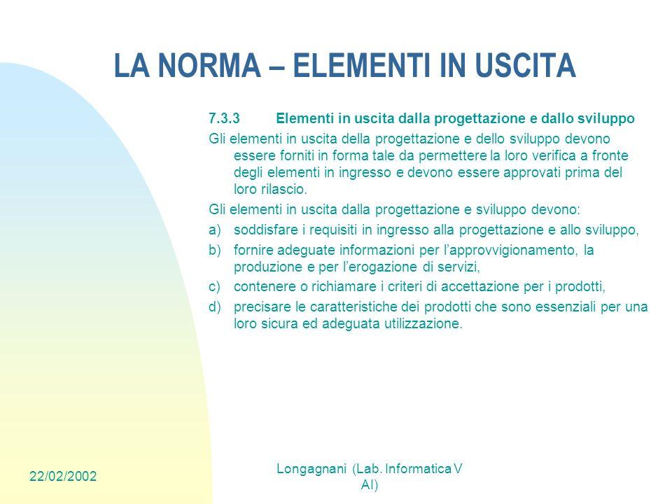 22/02/2002 Longagnani (Lab. Informatica V AI) LA NORMA – ELEMENTI IN USCITA 7.3.3Elementi in uscita dalla progettazione e dallo sviluppo Gli elementi