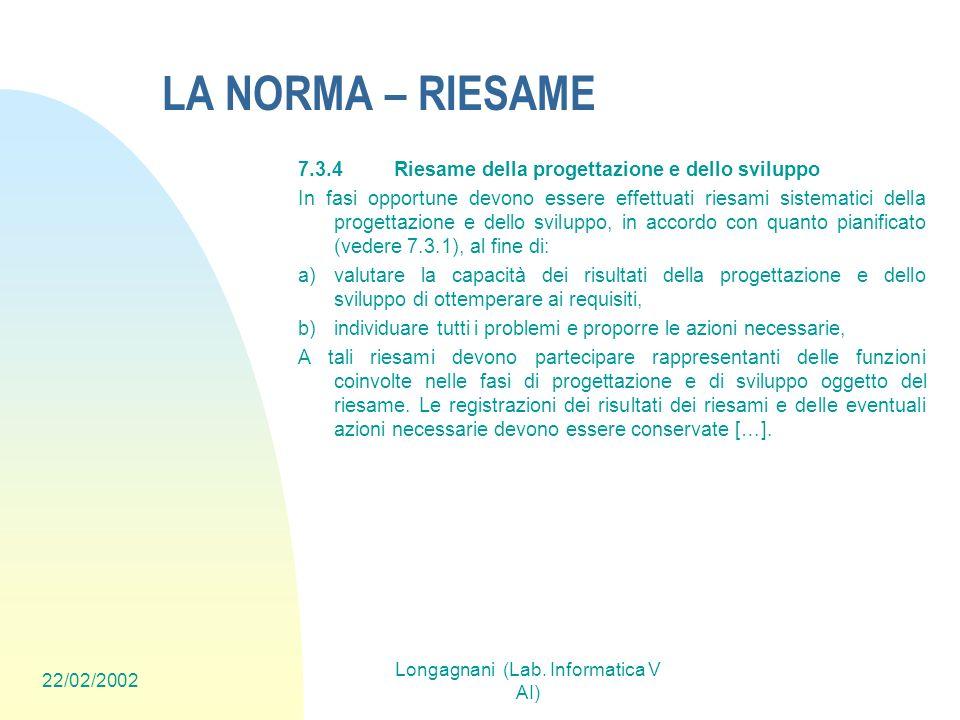 22/02/2002 Longagnani (Lab. Informatica V AI) LA NORMA – RIESAME 7.3.4Riesame della progettazione e dello sviluppo In fasi opportune devono essere eff