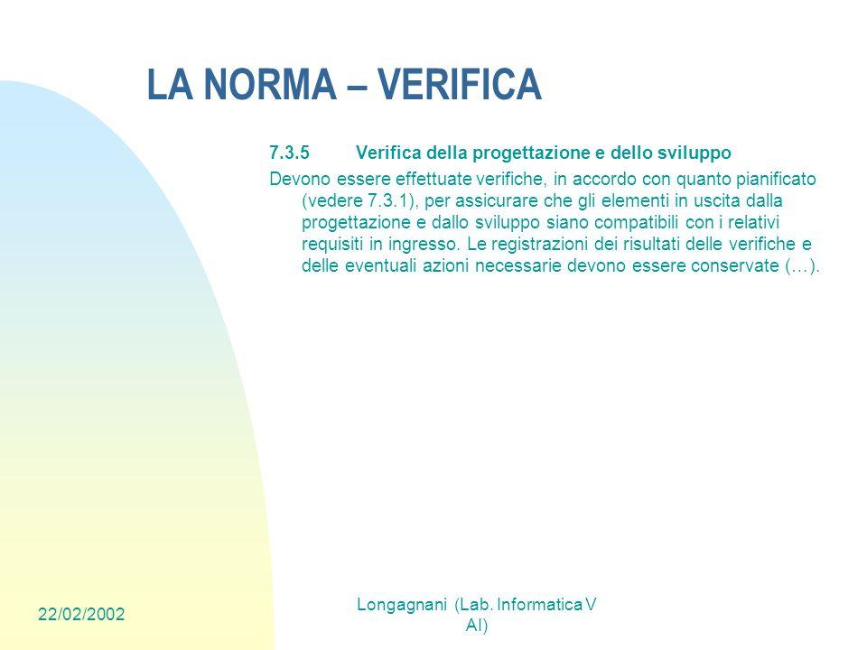 22/02/2002 Longagnani (Lab. Informatica V AI) LA NORMA – VERIFICA 7.3.5Verifica della progettazione e dello sviluppo Devono essere effettuate verifich