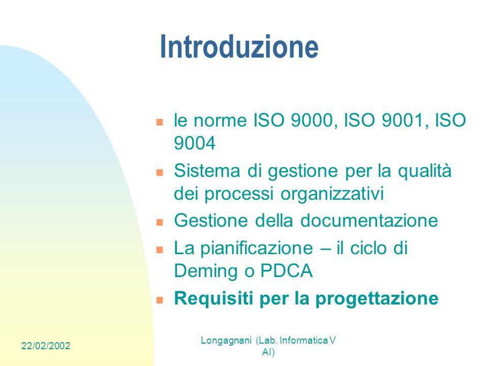 22/02/2002 Longagnani (Lab. Informatica V AI) Introduzione le norme ISO 9000, ISO 9001, ISO 9004 Sistema di gestione per la qualità dei processi organ