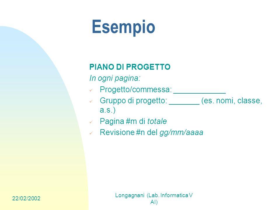 22/02/2002 Longagnani (Lab. Informatica V AI) Esempio PIANO DI PROGETTO In ogni pagina: Progetto/commessa: ____________ Gruppo di progetto: _______ (e