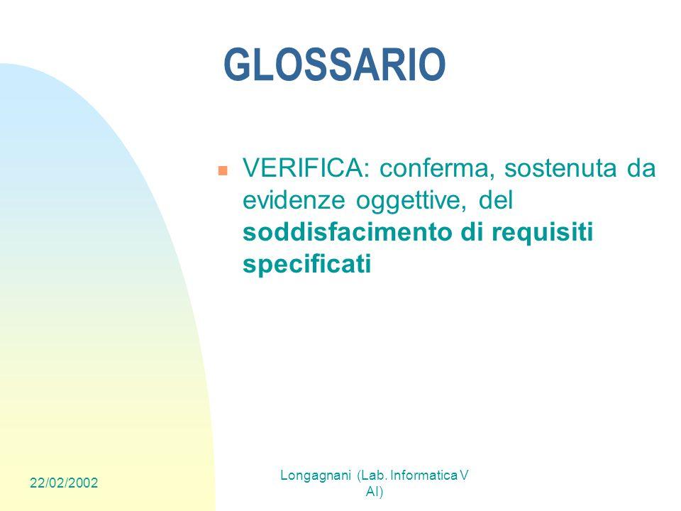 22/02/2002 Longagnani (Lab. Informatica V AI) GLOSSARIO VERIFICA: conferma, sostenuta da evidenze oggettive, del soddisfacimento di requisiti specific