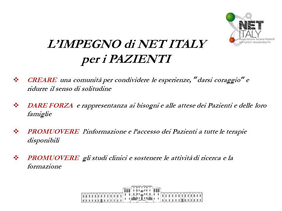LIMPEGNO di NET ITALY per i PAZIENTI CREARE una comunità per condividere le esperienze, darsi coraggio e ridurre il senso di solitudine DARE FORZA e r