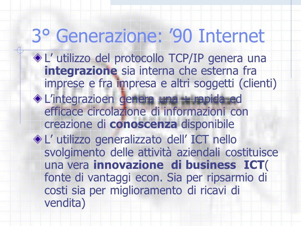 3° Generazione: 90 Internet L utilizzo del protocollo TCP/IP genera una integrazione sia interna che esterna fra imprese e fra impresa e altri soggett