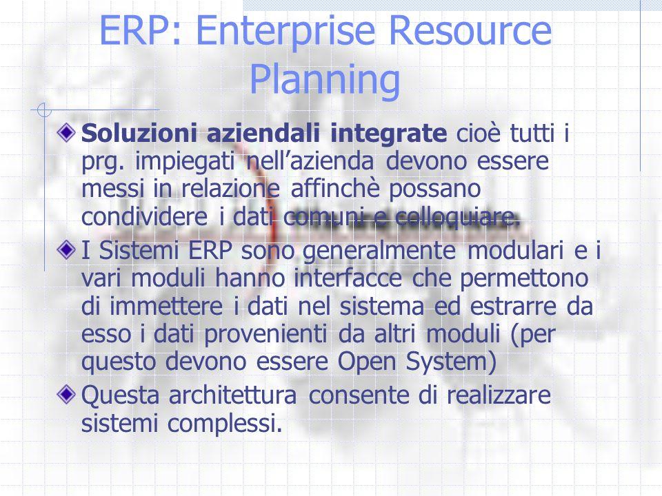 ERP: Enterprise Resource Planning Soluzioni aziendali integrate cioè tutti i prg. impiegati nellazienda devono essere messi in relazione affinchè poss