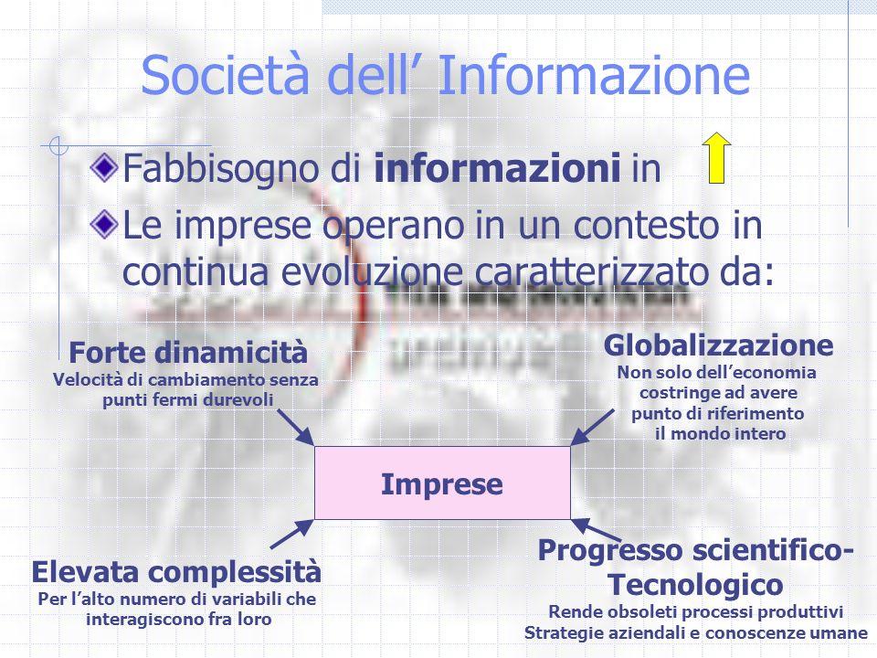 Società dell Informazione Fabbisogno di informazioni in Le imprese operano in un contesto in continua evoluzione caratterizzato da: Imprese Forte dina