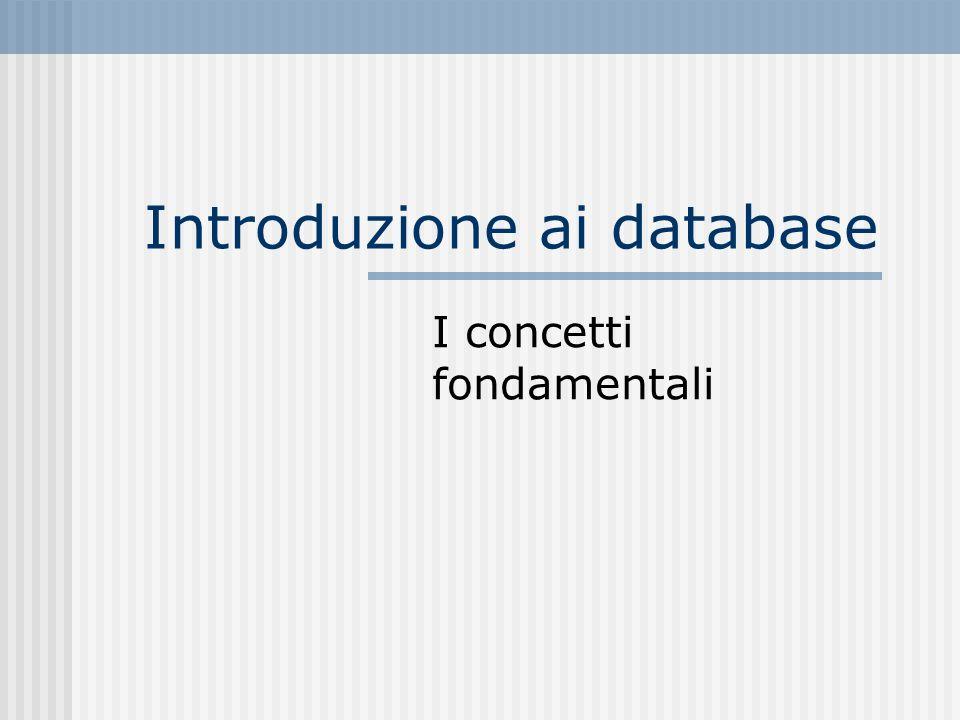 Introduzione ai database I concetti fondamentali