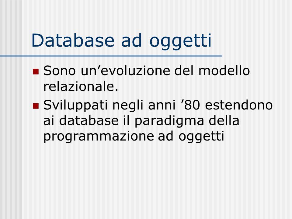 Database ad oggetti Sono unevoluzione del modello relazionale. Sviluppati negli anni 80 estendono ai database il paradigma della programmazione ad ogg