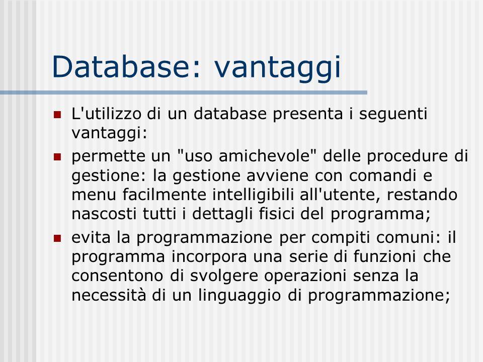 Database: vantaggi L'utilizzo di un database presenta i seguenti vantaggi: permette un