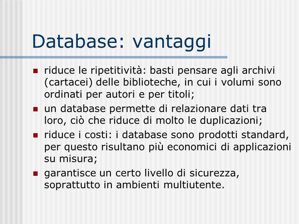 Database: vantaggi riduce le ripetitività: basti pensare agli archivi (cartacei) delle biblioteche, in cui i volumi sono ordinati per autori e per tit