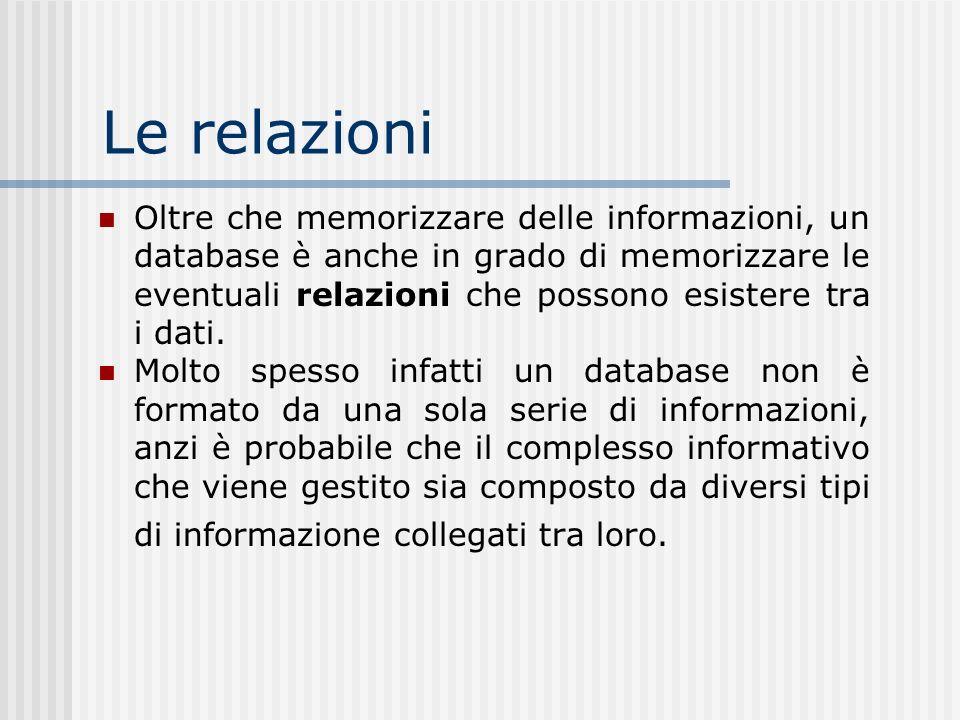 Le relazioni Oltre che memorizzare delle informazioni, un database è anche in grado di memorizzare le eventuali relazioni che possono esistere tra i d